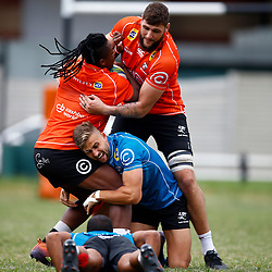 Ruan Botha and Jeremy Ward tackling S'busiso Nkosi of the Cell C Sharks during The Cell C Sharks training session at Jonsson Kings Park Stadium in Durban, South Africa. 21 May 2019 (Mandatory Byline Steve Haag)