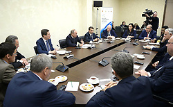 October 11, 2016 - Kovrov, Vladimir Region, Russia - October 11, 2016. - Russia, Vladimir Region, Kovrov. - Russian President Vladimir Putin at the meeting with representatives of international sports organizations taking part in the International Sports Forum. (Credit Image: © Russian Look via ZUMA Wire)