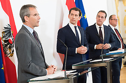 30.04.2019, Bundeskanzleramt, Wien, AUT, Bundesregierung, Pressekonferenz zur Presentation der Steuerreform, im Bild Finanzminister Hartwig Löger (ÖVP), Bundeskanzler Sebastian Kurz (ÖVP), Vizekanzler Heinz-Christian Strache (FPÖ) und Staatssekretär im Finanzministerium Hubert Fuchs (FPÖ) // Austrian Minister for Finance Hartwig Loeger, Austrian Federal Chancellor Sebastian Kurz, Austrian Vice Chancellor Heinz-Christian Strache and Austrian State Secretary of the Finance Ministry Hubert Fuchs during media conference due to fiscal reform at federal chancellors office in Vienna, Austria on 2019/04/30 EXPA Pictures © 2019, PhotoCredit: EXPA/ Michael Gruber