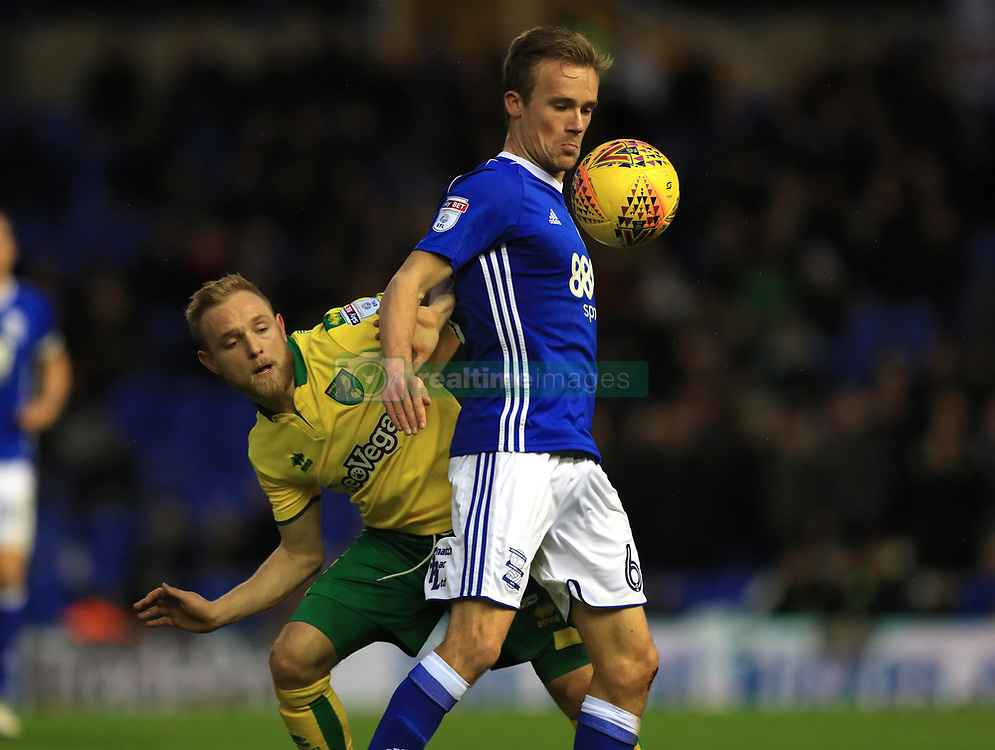 Birmingham City's Maikel Kieftenbeld and Norwich City's Alex Pritchard (left)