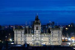 Night view of George Heriots School in Edinburgh, Scotland, UK