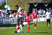 Wrexham Forward Iffy Allen in action with Bromley Midfielder Blair Turgott during the Vanarama National League match between Bromley FC and Wrexham FC at Hayes Lane, Bromley, United Kingdom on 8 April 2017. Photo by Jon Bromley.