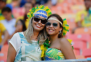 2 fans in the crowd ahead of the 2014 FIFA World Cup match at Arena da Amazonia, Manaus<br /> Picture by Andrew Tobin/Focus Images Ltd +44 7710 761829<br /> 14/06/2014