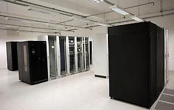 PRISTINA, KOSOVO - DECEMBER 14 - Strezniki, racunalniki, kabli, sredisce mobilne telefonije operaterja IPKA.