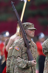 NORMAL, IL - September 08: ROTC color guard during 107th Mid-America Classic college football game between the ISU (Illinois State University) Redbirds and the Eastern Illinois Panthers on September 08 2018 at Hancock Stadium in Normal, IL. (Photo by Alan Look)