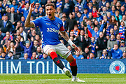 James Tavernier (C) of Rangers FC is absolutely furious  with the offside decision during the Ladbrokes Scottish Premiership match between Rangers and Aberdeen at Ibrox, Glasgow, Scotland on 27 April 2019.