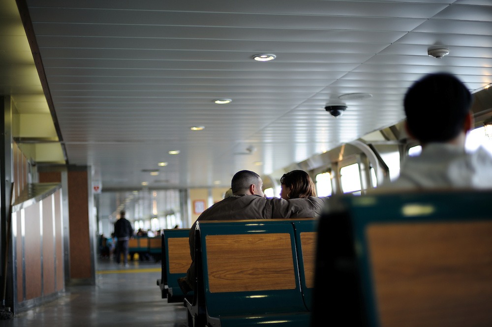 Passengers en route to New York City via the Staten Island Ferry.
