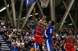 Gentry Thomas of Bristol Flyers jumps for a rebound - Photo mandatory by-line: Arron Gent/JMP - 28/09/2019 - BASKETBALL - Crystal Palace National Sports Centre - London, England - London City Royals v Bristol Flyers - British Basketball League Cup