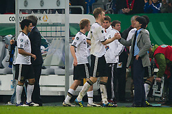 11.10.2011, Esprit Arena, Duesseldorf, GER, UEFA EURO 2012 Qualifikation, Deutschland (GER) vs Belgien (BEL), im Bild Per Mertesacker (#17 GER, Arsenal London) und Joachim Jogi Löw / Loew (Bundestrainer / Trainer GER) nach dem Spiel // during the UEFA Euro 2012 qualifying round Germany vs Belgium  at Esprit Arena, Duesseldorf 2011-10-11 EXPA Pictures © 2011, PhotoCredit: EXPA/ nph/  Kurth       ****** out of GER / CRO  / BEL ******