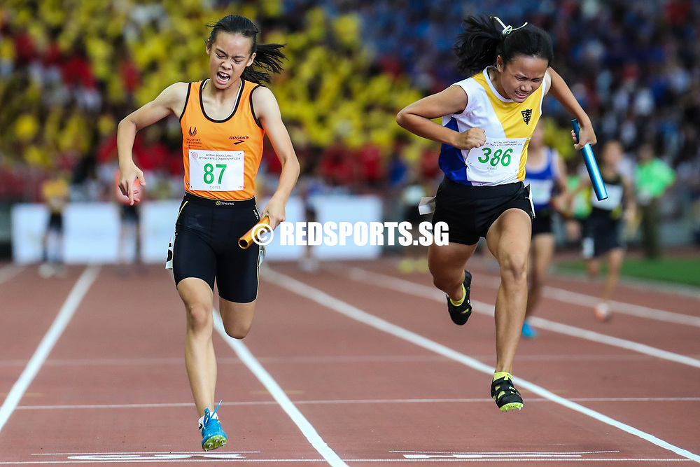 Samantha Theresa Ortega (#87) anchors Singapore Sports School to win the C Division girls' 4x100m final. (Photo © Lim Yong Teck/Red Sports)
