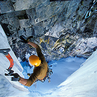 Roger Strong on his project Ghost Dog, tentatively rated at M11, at the Rap Wall near Snoqualmie Pass, Washington.