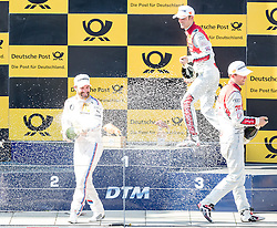 22.05.2016, Red Bull Ring, Spielberg, AUT, DTM Red Bull Ring, Rennen, im Bild v.l.: 2. Platz Mattias Ekstroem (SWE, Audi RS 5 DTM), 1. Platz Timo Glock (GER, BMW M4 DTM), 3. Platz Jamie Green (GRB, Audi RS 5 DTM) // during the DTM Championships 2016 at the Red Bull Ring in Spielberg, Austria, 2016/05/22, EXPA Pictures © 2016, PhotoCredit: EXPA/ Dominik Angerer