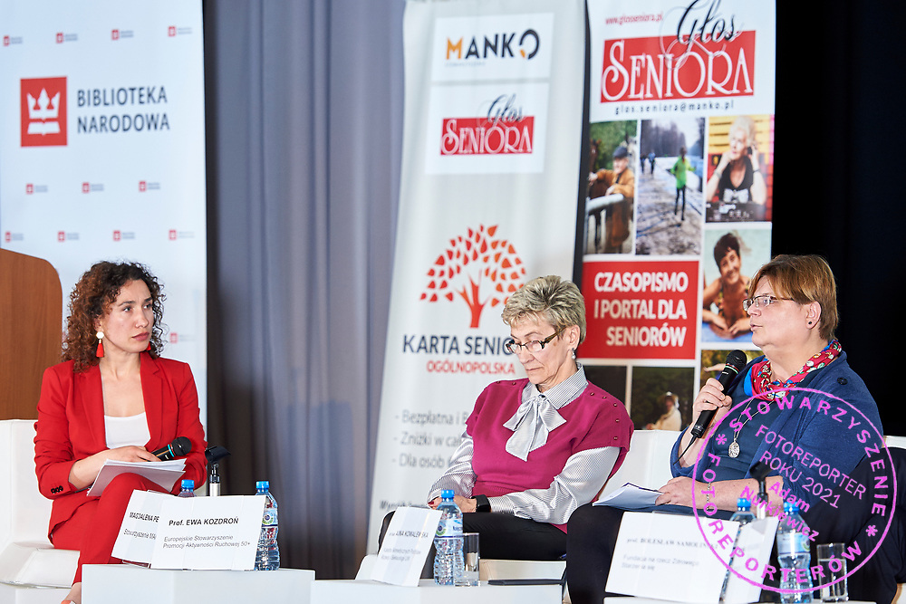 Warsaw, Poland - 2017 April 07: (L-R) Magdalena Petryniak - President of Story Seekers Polska and Ewa Kozdron - President of the European Association for the Promotion of Mobility 50+ and Anna Kowalewska - Department of Biomedical Development and Sexology of Warsaw University attend in The Day of Health - science conference in the National Library on April 07, 2017 in Warsaw, Poland.<br /> <br /> Mandatory credit:<br /> Photo by © © Adam Nurkiewicz / Mediasport / Mediasport<br /> <br /> Picture also available in RAW (NEF) or TIFF format on special request.<br /> <br /> Any editorial, commercial or promotional use requires written permission from the author of image.<br /> <br /> Adam Nurkiewicz declares that he has no rights to the image of people at the photographs of his authorship.