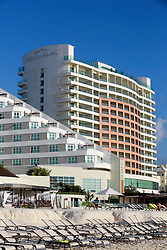 10 Feb 2014. Cancun, Mexico.<br /> The Beach Palace resort hotel overlooking the tourist beach at Isla Cancun along the Zona Hotelera on the Carribean Sea. <br /> Photo; Charlie Varley/varleypix.com
