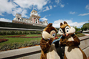 Orlando, Florida, USA, 20090324:   The Disney Magic Kingdom in Orlando.<br /> The two chipmunks Chip and Dale signing autographs outside the park. Photo: Orjan F. Ellingvag/ Dagbladet/ Corbis