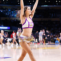 26 March 2016: A Laker girl performs during the Portland Trail Blazers 97-81 victory over the Los Angeles Lakers, at the Staples Center, Los Angeles, California, USA.