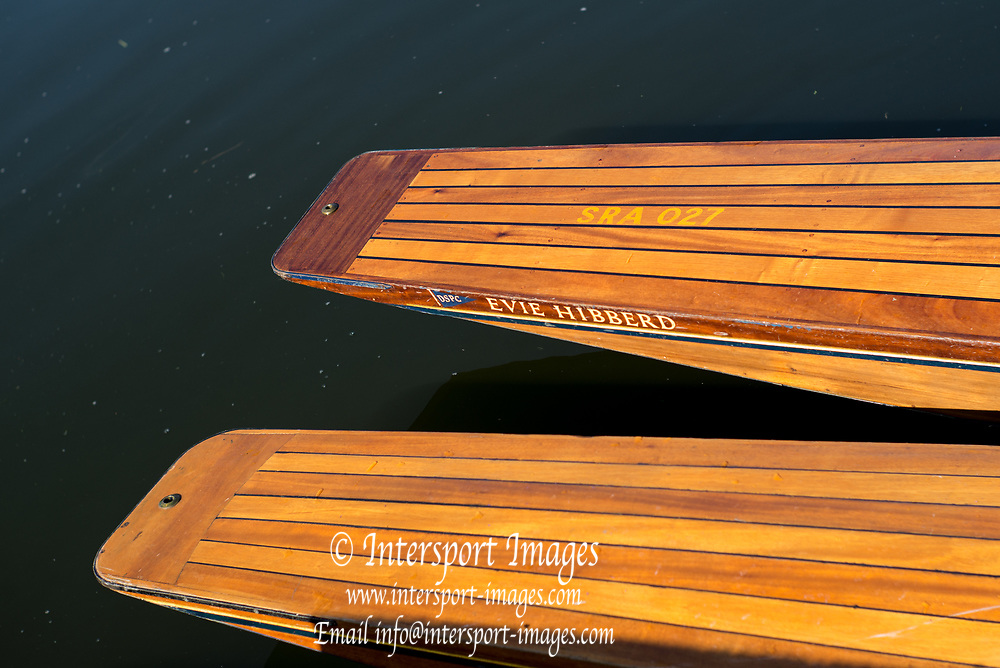 "Maidenhead, United Kingdom. Wooden Punt Bows/Sterns.  ""Thames Punting Club Regatta"", Bray Reach.<br />