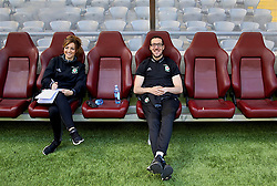 ASTANA, KAZAKHSTAN - Friday, September 15, 2017: Wales' team operations manager Amanda Smith and head of media Ben Donovan training at the Astana Arena ahead of the FIFA Women's World Cup 2019 Qualifying Round Group 1 match against Kazakhstan. (Pic by David Rawcliffe/Propaganda)