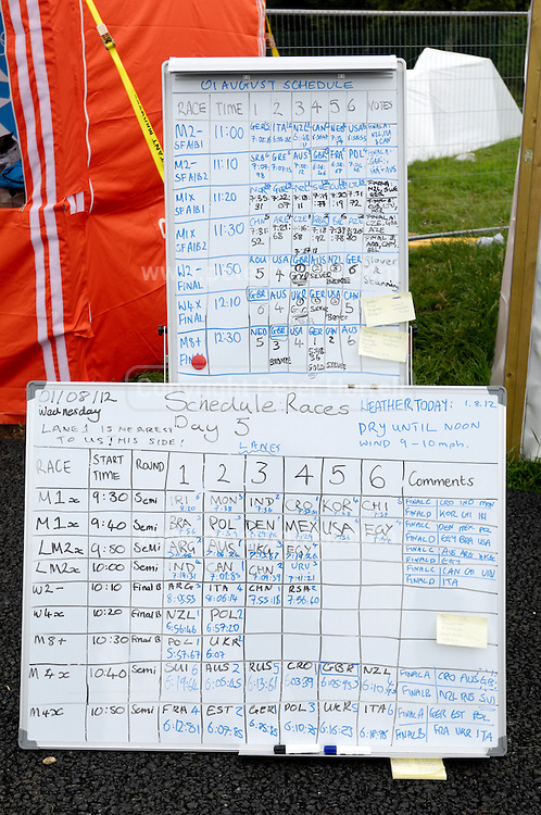 UK, August 1 2012: Day 5 Rowing Results board at the London 2012 Olympic Rowing Course at Eton Dorney.  Copyright 2012 Peter Horrell.