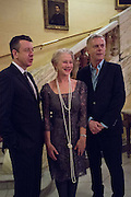 PETER MORGAN; HELEN MIRREN; STEPHEN DALDRY, The Audience Press night, Gielgud Theatre and after-party at the Horseguard Hotel. London. 5 March 2013