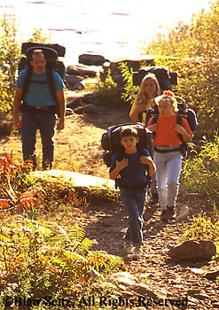 Outdoor recreation, Family Hiking, Pitching Tent, Primitive Camping in PA