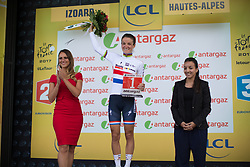 Lizzie Deignan (GBR) of Boels-Dolmans Cycling Team celebrates receiving the most active rider's award after La Course 2017 - a 67.5 km road race, from Briancon to Izoard on July 20, 2017, in Hautes-Alpes, France. (Photo by Balint Hamvas/Velofocus.com)