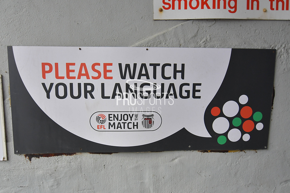 EFL please watch your language sign during the EFL Sky Bet League 2 match between Grimsby Town FC and Oldham Athletic at Blundell Park, Grimsby, United Kingdom on 15 September 2018.