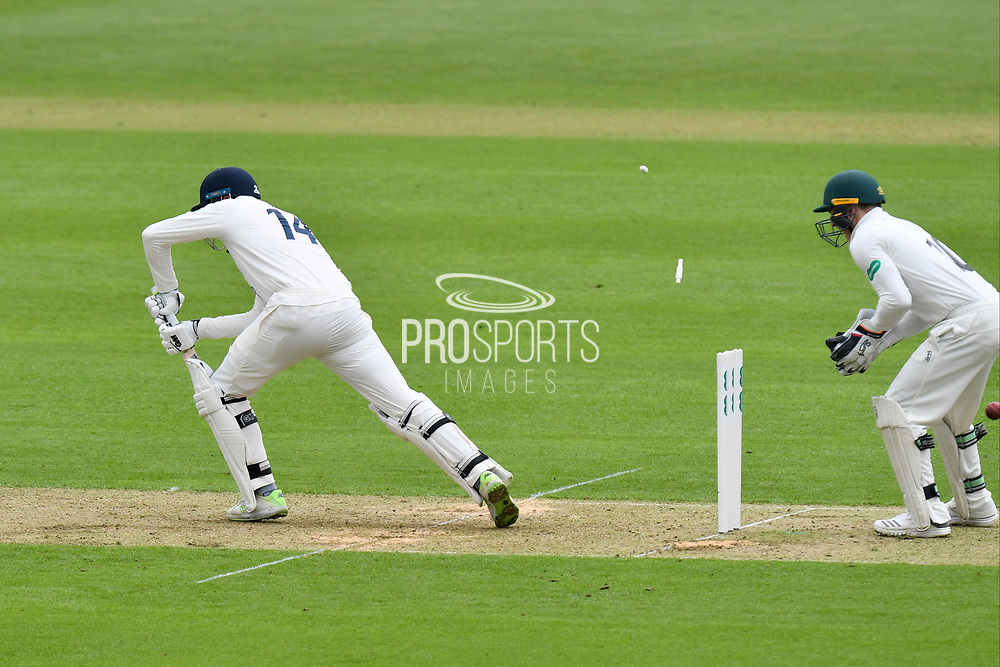 Wicket - James Vince of Hampshire is bowled by Steve Magoffin of Worcestershire during the Specsavers County Champ Div 1 match between Hampshire County Cricket Club and Worcestershire County Cricket Club at the Ageas Bowl, Southampton, United Kingdom on 13 April 2018. Picture by Graham Hunt.