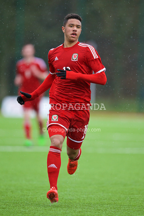 YSTRAD MYNACH, WALES - Thursday, February 19, 2015: Wales' Tyler Roberts in action against Czech Republic during a friendly match at the Centre of Sporting Excellence. (Pic by David Rawcliffe/Propaganda)