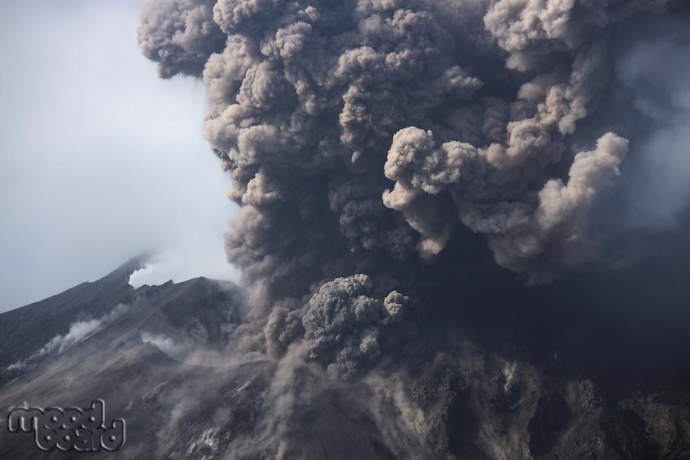 Cloud of volcanic ash from Sakurajima Kagoshima Japan