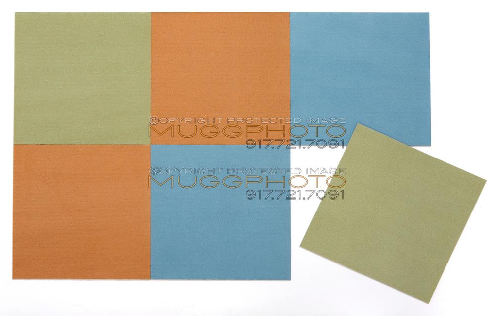 blue, orange and olive green carpet square samples