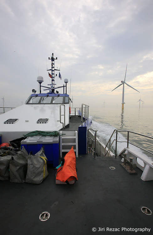 UK ENGLAND NORFOLK SHERINGHAM SHOAL 25SEP13 - Working deck of the Tidal Transit vessel Tia Elizabeth  at the Sheringham Shoal wind farm in the North Sea off the Norfolk coast, England.<br /> <br /> <br /> <br /> jre/Photo by Jiri Rezac<br /> <br /> <br /> <br /> © Jiri Rezac 2013