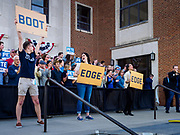 "16 APRIL 2019 - DES MOINES, IOWA: Buttigieg volunteers lead a cheer using flash cards that show how to pronounce Buttigieg during a rally for Mayor Pete Buttigieg, the mayor of South Bend, Indiana. ""Mayor Pete,"" as he goes by, declared his candidacy to be the Democratic nominee for the US Presidency on April 14. About 1,000 people attended his first rally in Iowa since officially declaring his candidacy. Iowa traditionally hosts the the first selection event of the presidential election cycle. The Iowa Caucuses will be on Feb. 3, 2020.                PHOTO BY JACK KURTZ"