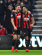 Goal - Callum Wilson (13) of AFC Bournemouth celebrates scoring a goal to give a 1-0 lead to the home team with Dan Gosling (4) of AFC Bournemouth during the Premier League match between Bournemouth and West Ham United at the Vitality Stadium, Bournemouth, England on 19 January 2019.