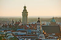 Looking out over the old town of Leipzig, Germany in the early morning, with it's fine array of historical towers.