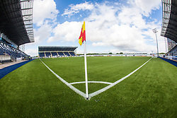 The corner flag at the TheFalkirk Stadium, with the new pitch work for the Scottish Championship game v Morton. The woven GreenFields MX synthetic turf and the surface has been specifically designed for football with 50mm tufts compared with the longer 65mm which has been used for mixed football and rugby uses.  It is fully FFA two star compliant and conforms to rules laid out by the SPL and SFL.<br /> &copy;Michael Schofield.