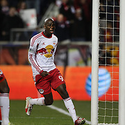 Bradley Wright-Phillips, New York Red Bulls, celebrates after scoring the first of his two goals during the New York Red Bulls V Sporting Kansas City, Major League Soccer Play Off Match at Red Bull Arena, Harrison, New Jersey. USA. 30th October 2014. Photo Tim Clayton
