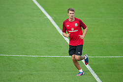 LLANELLI, WALES - Tuesday, August 14, 2012: Wales' captain Aaron Ramsey during a training session at Parc y Scarlets ahead of the international friendly match against Bosnia-Herzegovina. (Pic by David Rawcliffe/Propaganda)