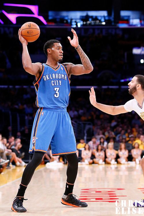 09 March 2014: Oklahoma City Thunder small forward Perry Jones (3) looks to pass the ball during the Los Angeles Lakers 114-110 victory over the Oklahoma City Thunder at the Staples Center, Los Angeles, California, USA.