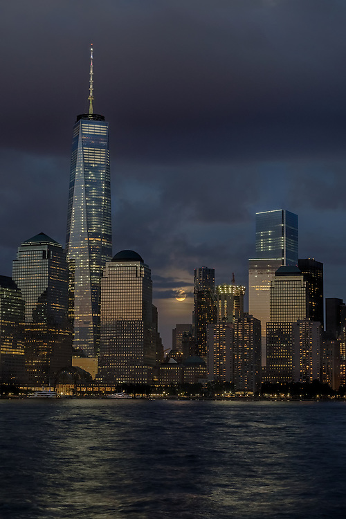 Supermoon rising over Lower Manhattan, September 27, 2015, New York City