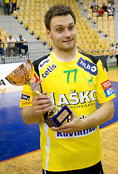 Luka Zvizej of Celje celebrates with a trophy for 3rd place after the handball match between RK Celje Pivovarna Lasko and Trimo Trebnje of last Round of 1st Slovenian Handball league, on May 27, 2011 in Arena Zlatorog, Celje, Slovenia. Celje defeated Trimo 32-28 and win 3rd place in Slovenian National Championship. (Photo By Vid Ponikvar / Sportida.com)