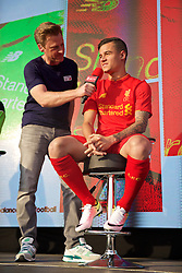 LIVERPOOL, ENGLAND - Monday, May 9, 2016: Liverpool's Philippe Coutinho Correia is interviewed by Steve Hothersall at the launch of the New Balance 2016/17 Liverpool FC kit at a live event in front of supporters at the Royal Liver Building on Liverpool's historic World Heritage waterfront. (Pic by Lexie Lin/Propaganda)