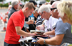 """Southampton's Steven Davis meeting fans during a pre season friendly match at Pride Park, Derby. PRESS ASSOCIATION Photo. Picture date: Saturday July 21, 2018. Photo credit should read: Anthony Devlin/PA Wire. EDITORIAL USE ONLY No use with unauthorised audio, video, data, fixture lists, club/league logos or """"live"""" services. Online in-match use limited to 75 images, no video emulation. No use in betting, games or single club/league/player publications."""