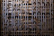 Signal switching mechanism, Museu del Ferrocarril de Catalunya Vilanova i la Geltrú. Railway museum in Vilanova i Geltru, Catalonia, Spain. Museo del Ferrocarril de Cataluña.