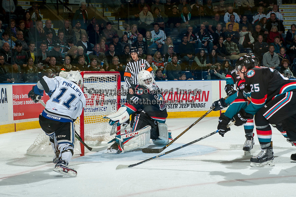 KELOWNA, CANADA - OCTOBER 26: Matthew Phillips #11 of the Victoria Royals scores a second period goal on Michael Herringer #30 of the Kelowna Rockets on October 26, 2016 at Prospera Place in Kelowna, British Columbia, Canada.  (Photo by Marissa Baecker/Shoot the Breeze)  *** Local Caption ***