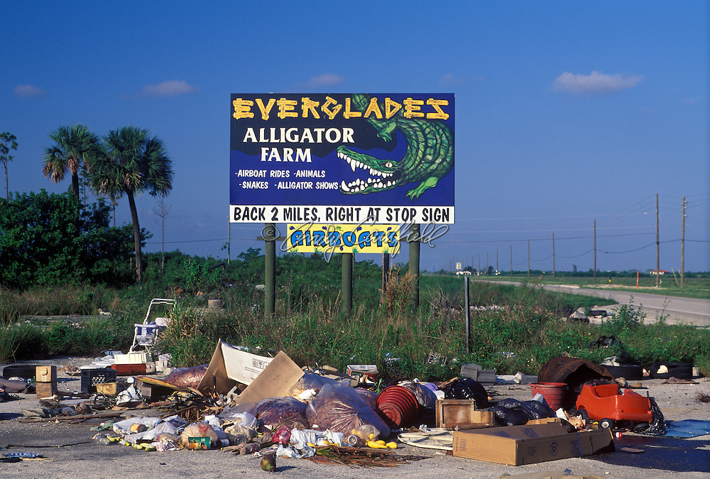 Trash dump remnants of Hurricaine Andrew's effect on the local environment a few years after the storm, this location is near Florida City, six miles outside oustside of the main gate to Everglades NP, Florida USA