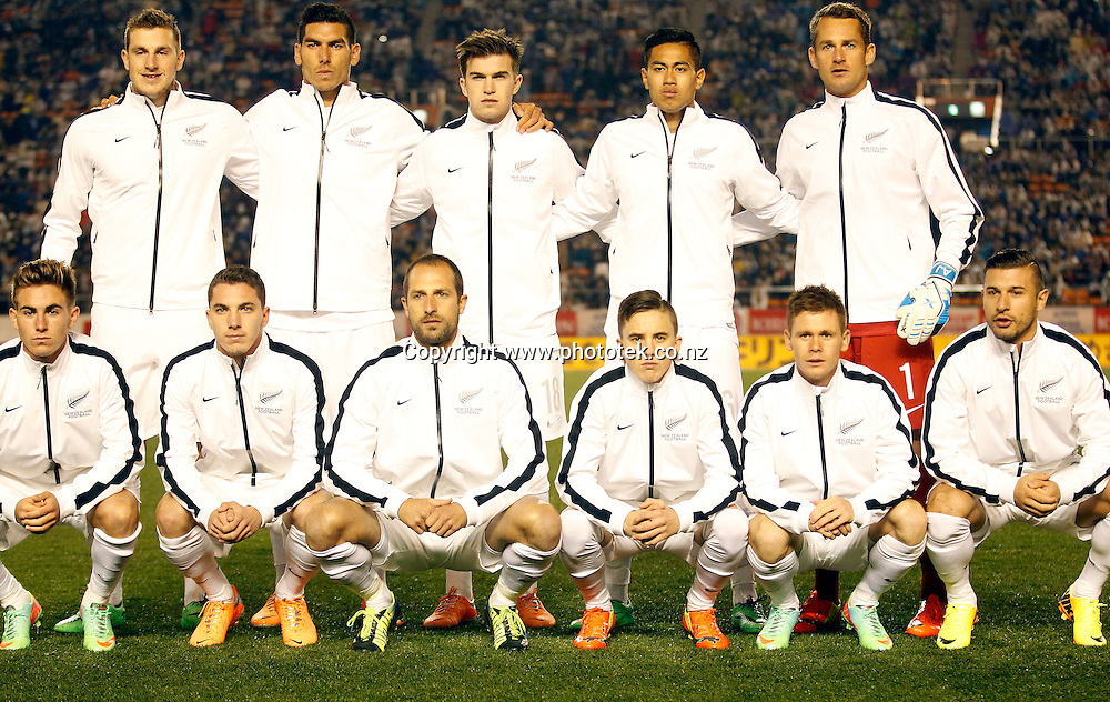 All Whites starting eleven. Kirin Challenge Cup 2014, Japan v New Zealand, National Olympic Stadium Tokyo, Wednesday 5th March 2014. Photo: Shane Wenzlick / Photosport.co.nz