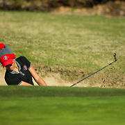 26 March 2018: Haleigh Krause chips out of the bunker on the sixth hole during the opening round of the March Mayhem Tournament hosted by SDSU at the Farms Golf Club in Rancho Santa Fe, California. <br /> More game action at sdsuaztecphotos.com