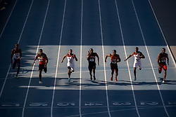 08 JUN 2012: The men's 100 meter dash crosses the finish line during the Division I Men's and Women's Outdoor Track and Field Championship held at Drake Stadium on Drake University in Des Moines, IA. Joshua Duplechian/NCAA Photos