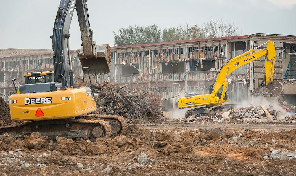 Crews demolish Milby High School, December 18, 2014.